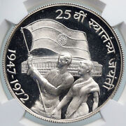 1972 India Independence Flag Parliament Proof Silver 10 Rupee Coin Ngc I89328