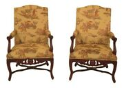 38628ec Pair Of French Louis Xiv Style Upholstered Open Arm Chairs