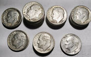 33 Roosevelt Dimes Mixed Lot 1952 To 1959 Ten Cent Coins Mg