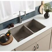 Farmhouse 33-inch Double Bowl Nativestone Kitchen Sink - 33