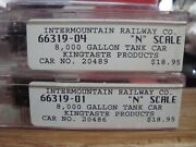 N Scale Intermountain 2 8000 Gal Kingtaste Products Tank Cars - Diff 's New