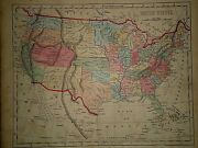 Antique 1856 Hand Colored United States Map Old Authentic Vintage Atlas Map
