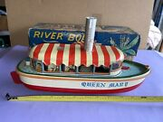 Vintage Tin Marusan Battery Operated Jungle Cruiser Queen Mary Boat 1950s Japan