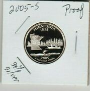 2005 S Minnesota Proof 90 Silver State Quarter 1858 Loon Lakes Fishing Boat St