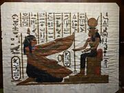 Vtg Signed Egyptian Nefertari And Isis Hand Painted On Real Papyrus Framed 20x17