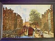 Cornelis Springer Hand Painted Tiles Dutch Cityscape Canal And Barges Mural