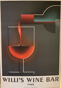 Nice Willi's Wine Bar Paris 1984 Lithographic Poster Print By A. M. Cassandre