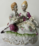 Dresden Lace Colonial Couple Courting At The Park Porcelain Figurine
