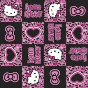 Hello Kitty Cheetah Pink Black Patchwork Cotton Fabric By 1/2 Yard