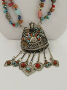Tibetan Style Necklace Flask Snuff Perfume Bottle Charms, Stones 30+4.25