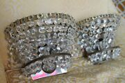C1940and039s Pair French Hollywood Regency Glam Nickel/ Crystal 2 Light Sconces