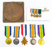 Set Of Father And Son Wwi Medals And Death Plaque Antique British Family