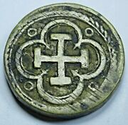 Antique Spanish Brass Counterweight For Gold 1 Escudo Weighing Scale Weight Coin