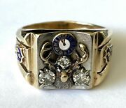 Vintage D.s. 10k Solid Gold Diamond Bpoe Elks Club Lodge Menand039s Ring Size 11.75