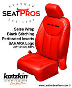 Leather Seat Covers 13-18 Jeep Wrangler Jk 2 4 Door Salsa Red Black Logo Sahara