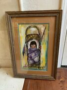 """Ted De Grazia Hand-signed"""" My Very Own Papoose """" Print Framed"""