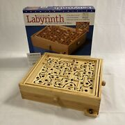 1997 Labyrinth Solitare Game Of Skill Wood Maze Puzzle Vintage Cardinal