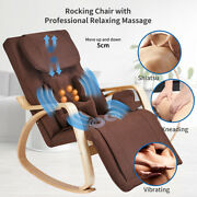 Brown Relax Rocking Chair Lounge Full Back Neck Massage Recliner Chair W/control