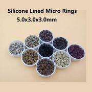 Silicone Lined Nano Rings Micro Beads Hair Extensions Loop 3mm 5000pcs