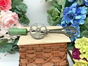 Antique Hand Mixer Egg Beater Vintage Green Wood Handles 6 Egg Shaped Cut Outs