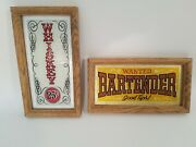Old West Saloon Bar Wood Signs Glass Front 1970andrsquos Rustic Vintage Bartender Rare