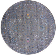 7and039 Round Wool And Silk Hand Knotted Rug - Q6950