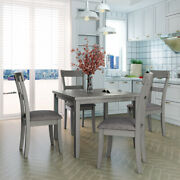 5pcs Dining Table Set Kitchen Table And Chairs Vintage For Home Dining Room Us