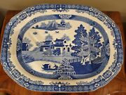 Large Late 18th Century English Blue Willow Ironstone Meat Platter With Drain
