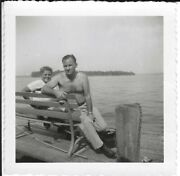 2401p Vintage Photo Handsome Man W Young Son Sitting On Bench End Of Pier
