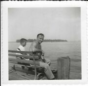2408p Vintage Photo Handsome Man W Young Son Sitting On Bench End Of Pier