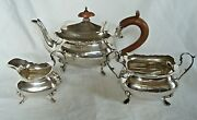 3 Pce Tea Service Bachelor Size Sterling Silver Walker And Hall Sheffield 1911/17