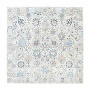 8and0391x8and0391 Ivory Silk With Textured Wool Tebraz Vase Hand Knotted Rug R62281