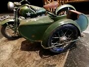 U.s Army Old Wwii Green Motorcycle With Sidecar Model Toy Military Vehicles