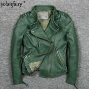 Yolanfairy Geniune Leather Jacket Sheepskin Leather Jackets For Women Motocycle