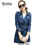 2020 New Women Denim Trench Coat Fashion Double Breasted Jeans Long Plus Size