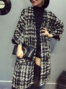 Plus Size Trench Coat Womenand039s Wool Coats New Autumn Winter Houndstooth Tweed