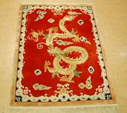 C1960s Antique Art Deco Walter Nichols Chinese100 Silk Rug 3and039 X 4and039drogen Design