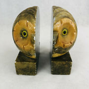 Vintage Alabaster Owl 6 Bookends Mcm Hand Carved Made Italy Heavy Book Ends