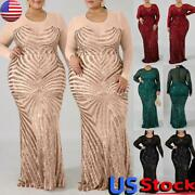 Plus Size Sexy Sequin Bodycon Long Maxi Dress Women Evening Party Cocktail Gown
