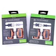 Lot Of 2 Xbox One Powera Play And Charge Kit, 2 1100mah Battery Packs, Usb Cable