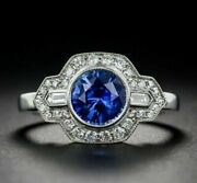 Art Deco 3ct Round Cut Blue Sapphire 14k White Gold Over Engagement Vintage Ring