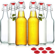 Yeboda Clear Glass Beer Bottles For Home Brewing, 16 Oz, Case Of 6