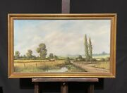 Large Vintage English Signed Oil Painting - Harvest Scene In Fields - R. Harmer