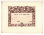 Antique Edwardian Unused Welsh Pony And Cob Society Silver Medal Certificate