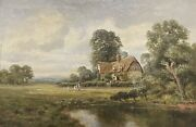 Antique English Oil Painting - Children In Country Rural Cottage Meadow And Pond