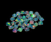 Natural Ethiopian Opal 6x6 Mm Square Cushion Faceted Fire Opal Loose Gemstone