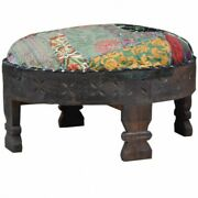Made To Order Indian Hand Made Tribal Chakki Antique Hand Carved Ottoman Choco