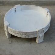 Made To Order Indian Hand Made Tribal Chakki Antique Carved Coffee Table White