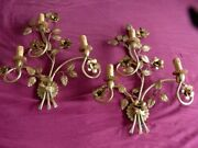 Pair C1940and039s French Hollywood Regency Gilt Floral Sconces Style Maison Bagues