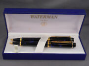 Waterman Vintage Le Man 200 Blue Marble Ball Pen And Pencil Set--new